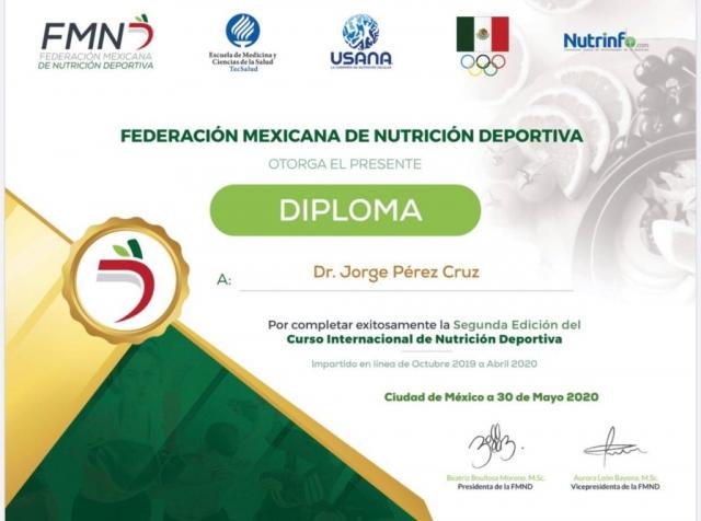 Diploma Federación Mexicana de Nutrición Deportiva